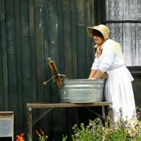 photo of girl doing the laundry at the molson house